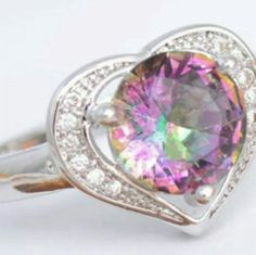 Sterling Silver Heart throb Rainbow Ring Rainbow fire purple CZ Sterling silver Jewelry Rings