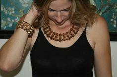 Gold Spike Necklace Bib & Spike Bracelet Combination