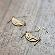 New  Brass Scalloped Earrings with 14k Gold Filled by DeuceFashion, $27.00