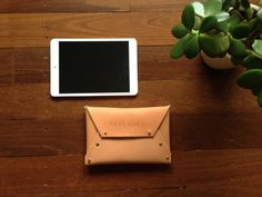 Medium leather clutch bag-SR