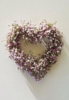 Pretty, pink heart wreath ~ made of dried flowers~❥