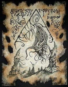 OUTER DEMON Necronomicon pages occult horror larp lovecraft magick