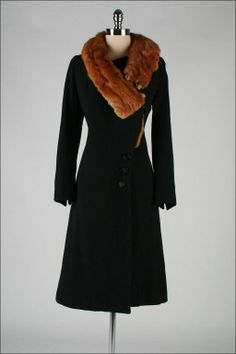 1930s Black Wool Mink Fur Wrap Collar Coat