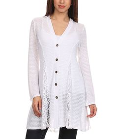 White Sheer Button-Up Cardigan #zulily #zulilyfinds  Back matched front with lace inlays between princess seams.  Back center panel matches front.