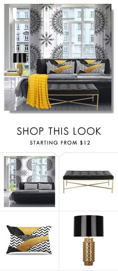 """B;ack Mandala"" by lidia-solymosi ❤ liked on Polyvore featuring interior, interiors, interior design, home, home decor, interior decorating, Arteriors and Robert Abbey"