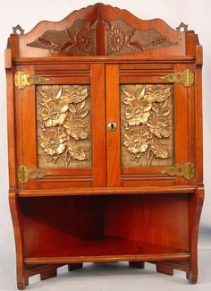 Victorian Walnut Hanging Corner Cabinet With Hammered Brass Panel In Door With Dental Molding On Bottom