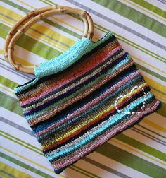Pretty knitted bag made from plarn (recycled plastic bags made into plastic yarn) ~ ! ~
