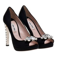 Miu Miu - Satin open-toe platform pump Swarovski© ornament on front (black) - $1100.00