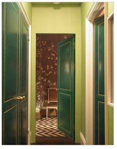 Green-Leather-Upholstered-Doors-by-Miles by hollanddina, via Flickr