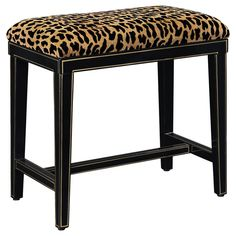 Leopard print bench with a plantation grown hardwood frame. Product: BenchConstruction Material: Plantation grown hardwoods and fabricColor: Black and tanFeatures: Leopard printDimensions: H x W x D Living Room Bench, Chair Bench, Elk Lighting, Joss And Main, My Dream Home, Interior Inspiration, Sweet Home, Vanity, House Design