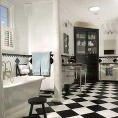 Beautiful art deco bathroom courtesy of That Lovely Shop: Vintage Inspired Bathrooms....Oh-La-La! C'est Magnifique!
