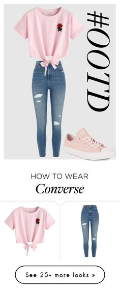 """#OOTD98"" by lilythefangirl on Polyvore featuring River Island, WithChic, Converse, cute, ootd and polyvorefashion"