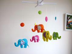 infant elephant crib | Rainbow Baby Elephants - Felt Nursery Mobile - Crib or Cot Mobile