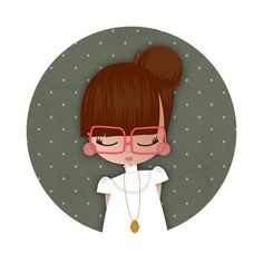 pocket mirror cute illustration vintage girl // by studiosofie