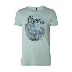 T-shirt con stampa, maniche corte, girocollo in cotone.3P7XJ1279 GRIGIO