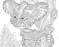 Adult Coloring Pages. Koala Bear. Zentangle Doodle Coloring Book Page for Adults. Digital illustration. Instant Download Print.