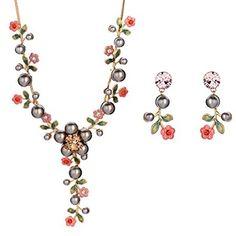 NEOGLORY Conjunto de Colgante y Pendientes diseño Flores y Perlitas, Oro 14K Enchapado para Mujer