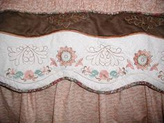 Bed Skirt - Embroidery Library Jacobean Floral