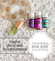 Calm Down Ma'am Roller Blend Young Essential Oils, Essential Oils Guide, Roller Bottle Recipes, Young Living Oils, Young Living Anxiety, Essential Oil Diffuser Blends, Healthy Oils, Yl Oils, Natural