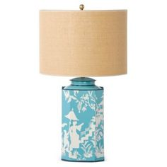Check out this item at One Kings Lane! Octo Tea-Can Lamp, Teal Toile. I would change the shade color, but love!