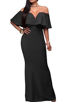 6518f0e82f0 AlvaQ Women s Sexy V Neck Ruffle Off Shoulder Evening Maxi Party Dress   dresses Fishtail Maxi