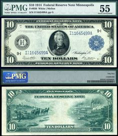 Rare U,S, Currency Notes | 1914 $10 Federal Reserve Note FR-939 PMG Graded AU55 S/N I11645499A