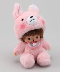 Pink Bunny Bebichhichi  by Monchhichi What a great thing to put in a little girls Easter Basket!