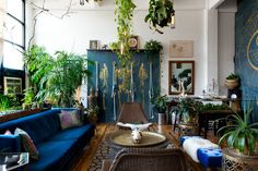Inspiration: Our inspiration is the design inherent in nature. Then, we bought this blue velvet couch with gold legs off Craigslist which went well with the warmth of the old wood floors and the green of the plants.