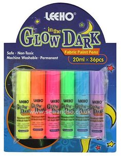 I have just bought these glow in the dark paint pens. I am going to design a table cover for the glow in the dark party using black poly cotton fabric and the pens. This is cheaper than a paper banqueting roll in black and can be reused. GLOW IN THE DARK Fabric and Craft Paint Pens - Pack of 6 online at sewandso.co.uk
