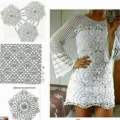 Best 12 Crochet Diagrams: I figured this one out . now what to do – SkillOfKing.Com – SkillOfKing. Crochet Skirts, Crochet Tunic, Filet Crochet, Crochet Clothes, Crochet Lace, Dress Patterns, Crochet Patterns, Mode Crochet, Crochet Diagram