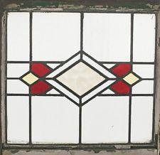 Antique Stained Glass Window Ruby Art Deco Diamond design