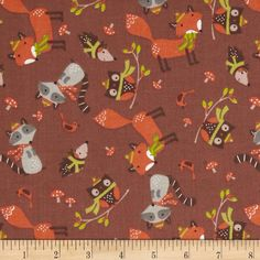 Woodland Christmas Tossed Animals Brown from @fabricdotcom  From A.E. Nathan, this cotton print fabric is perfect for quilting, apparel and home decor accents. Colors include green, orange, grey, shades of brown and cream.