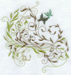 Frilly Butterflies in Greenery Embroidered Flour Sack Hand Towel
