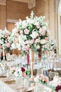 Centerpiece for Gold and Pink Ballroom Wedding | photography by http://www.calliemanionphotography.com/