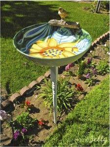 Serving bowl birdbath open for business!