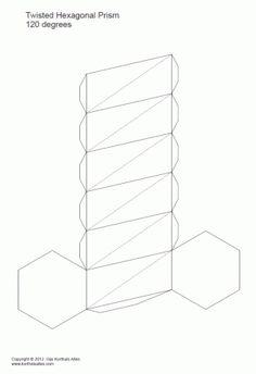 desarrollo plano de un prisma hexagonal torcido