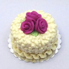 Dolls house miniature cake white chocolate by BlueKittyMiniatures, $10.00