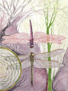 "Abstract spiritual dragonfly painting ""clarity and motion"" Dragonfly Painting, Dragonfly Art, Arte Floral, Illustrations, Collage Art, Watercolor Art, Fantasy Art, Art Photography, Original Paintings"