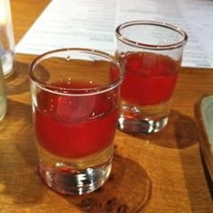 Free taster shots - sweet and apparently alcoholic, possibly pomegranate