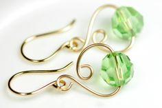 Gold Peridot Earrings Wire Wrapped Jewelry Handmade Green Swarovski Earrings Swarovski Crystal Jewelry Gold Earrings Swarovski Crystal Earri. $30.00, via Etsy.