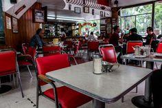 Cafeteria Trevi  Este restaurante sirve comida bastante ordinaria, y está especializado en lo italiano. Lo curioso no son sus platillos, (que son bastante buenos), sino todo lo demás. Las mesas, sillas, azucareros, vasos e inclusive sus tapetes y rótulos están atrapados en los años 50. Sentarse a comer allí es un viaje al México que quería parecerse a Estados Unidos lo más que pudiera.  Dirección: Doctor Mora esquina con Colón, Cuauhtémoc, Colonia Centro, Ciudad de México