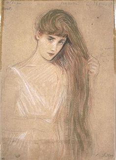 Girl From the Waist, Her Long Hair Styling by Paul Cesar Helleu (1859-1927, France)