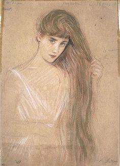 Girl From the Waist, Her Long Hair Styling by Paul Cesar Helleu (1859-1927, France)