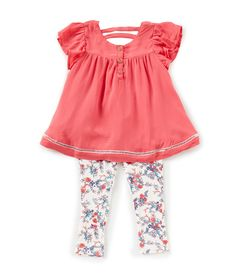 84918396fb56 Jessica Simpson Baby Girls 12-24 Months Textured Flutter-Sleeve Top    Printed Leggings Set