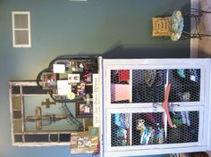 I want a cabinet like this but not that color to store my yarn in! I love the chicken wire too ;)