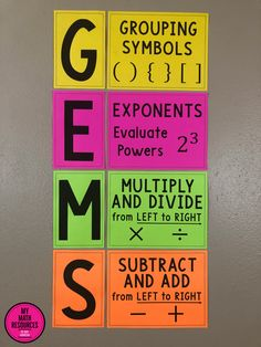 My Math Resources - GEMS Order of Operations Bulletin Board Pieces, Anchor Chart Pieces, or Poster Math Bulletin Boards, Math Boards, Math Teacher, Teaching Math, Math Math, Math Fractions, Math Games, Maths Algebra, Teaching Ideas