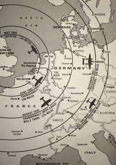 Range of escort fighters for bombers from Britain between 1943-1944 #map #europe #ww2