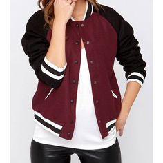 Lurex Baseball jacket (270 BRL) ❤ liked on Polyvore featuring outerwear, jackets, multi and red jacket