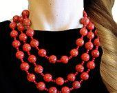 GEMSTONE, CORAL, Statement Necklace, Red, Orange, Bold, Chunky, Genuine, Sparkle, Jewelry by Jessica Theresa