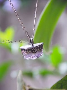 Raw Amethyst, Crystal Necklace, Sterling, Silver, Bohemian Pendant, Womens Silver, Amethyst Jewelry, Statement Necklace,Hand Cut and Carved